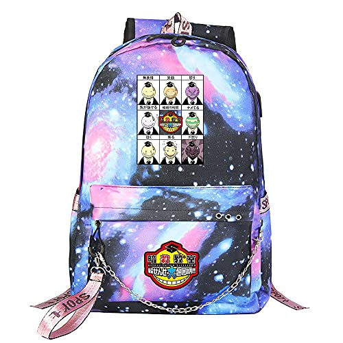 ZZGOO-LL Assassination Classroom With chain USB Anime Zaini backpack Scuola per Uomo Donna, Lavoro, Tablet Unisex Starry sky-C