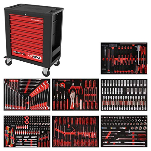 KS Tools 815.7403 PERFORMANCEplus Werkstattwagen P15, bestückt mit 403 Werkzeugen in 7 Einlagen für 7 Schubladen