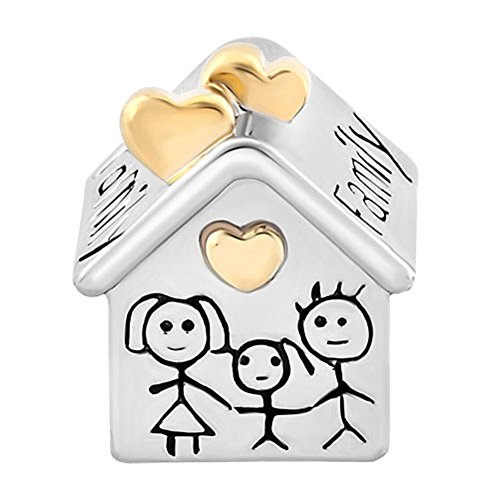 UNIQUEEN Family House Mum Dad Baby Together Charms fit Charm Bracelets