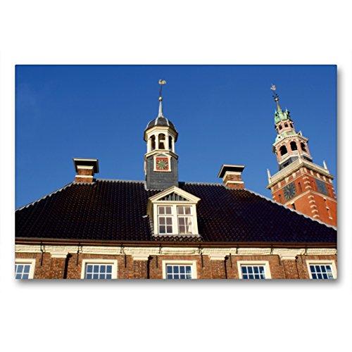 CALVENDO Premium Textil-Leinwand 90 x 60 cm Quer-Format Alte Waage und Rathausturm, Leinwanddruck von Peter Hebgen