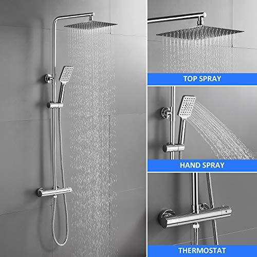 BONADE Duschsystem Thermostat Regendusche Duschkopf Edelstahl Kopfbrause Duschset verstellbare Duschstange Handbrause 3 Strahlarten Duschsäule mit Wandhalterung Aufputz für Bad Dusche