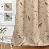 H.VERSAILTEX Blackout Curtains for Bedroom 84 Inches Length Thermal Insulated Birds Rustic Printed Curtain Drapes for Living Room Energy Efficient Room Darkening Home Decoration Pair 2 Panels, Taupe