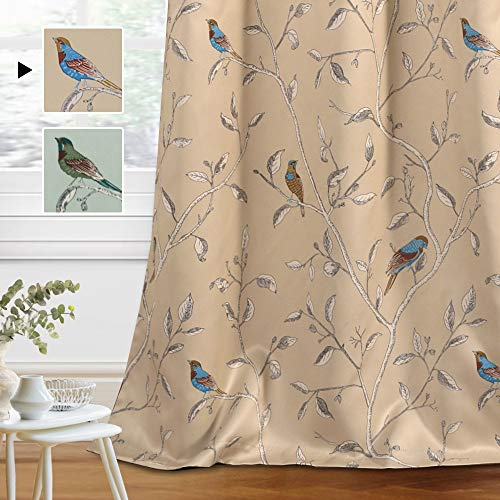 H.VERSAILTEX Blackout Curtains for Bedroom 63 Inches Length Thermal Insulated Birds Rustic Printed Curtain Drapes for Living Room Energy Efficient Room Darkening Home Decoration Pair 2 Panels, Taupe