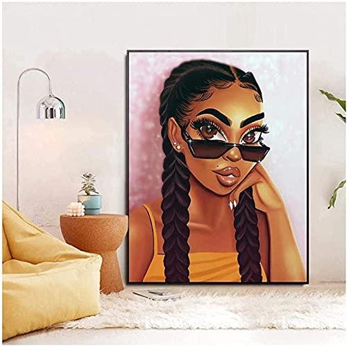 Lienzo Arte de la pared Decoración de la habitación de las niñas Imágenes Gafas de sol Pared de la niña Carteles e impresiones de figuras de dibujos animados de color rosa Mural 60x80cm sin marco