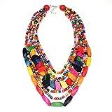 Yazilind Multi Layer Statement Halskette Bunte Perlen Kragen Bib Soiree Halskette für Frauen Geschenk