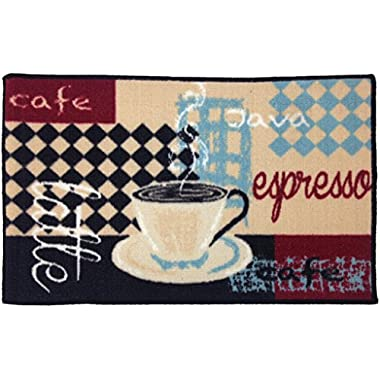Gourmet Club Anti-Slip Printed Kitchen Rug 18x28, Latte Espresso Floor Mat