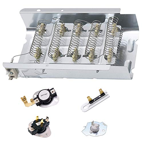 279838 Dryer Heating Element for Whirlpool Roper Kenmore Dryer Heating Element Parts 3392519 3977393 Thermal Fuse & 3387134 3977767 Dryer Thermostat (279838 Replaces 8565582,AP309425,3398064,3403585)