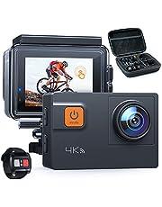 【新型4K/60FPS】A87 アクションカメラ 4K画質 2000万高画素 2インチタッチパネル 光学8倍ズームレンズ WIFI搭載 リモコン付き 40M防水 水中カメラ 手ブレ補正 HDMI出力 スポーツカメラ アクセサリー多数 バイク/自転車/車に取り付け可能 1050mAh大容量バッテリー2個 ウェアラブルカメラ・アクションカム
