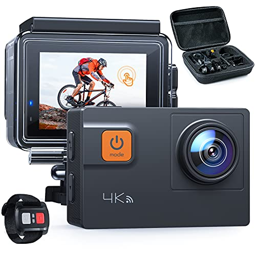 Action Camera Touch Screen 4K 60FPS 20MP Wi-Fi EIS 8X Zoom Remote Control Sports Cam 40M Waterproof Underwater Vlog Camcoder with Mounting Accessories Kit and Carrying Case