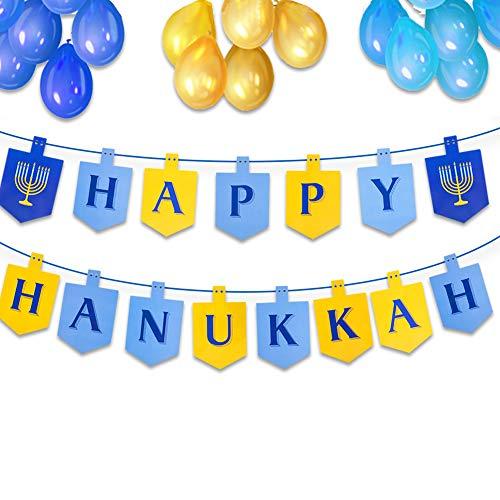 FaCraft Happy Hanukkah Banner Decorations Paper Banner