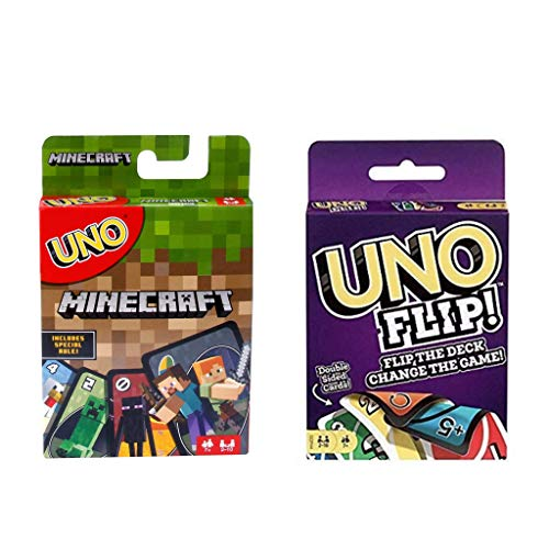 UNO Minecraft Card Game Bundle with UNO flip,Now UNO Card Game,Perfect Combo