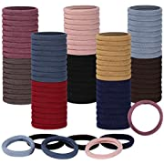 100 pcs Hair Ties for Women Mens Girls, Large Stretch Cotton Seamless Hair Bands, Hair Elastic Ponytail Holders for Thick Heavy and Curly Hair (Colorful, 4 cm in Diameter, 0.8cm in Width) (COLOR 2)
