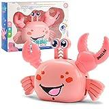 Redcolourful Kinder Elektrische Krabben Kinder Universal Cartoon Spielzeug Stunt Stand Seitwärts gehen Auto Drehrichtung mit Unterhaltungsmusik Pädagogische Maschine Rosa -