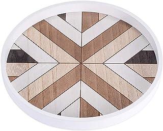 丸型スプライス木製トレイ茶トレイ丸型パン収納トレイ
