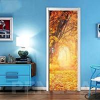 ZWYCEX ドアステッカー ステッカーオンザドア自己接着壁紙DIYのメープルの葉ピクチャーウォールアートの家の装飾の壁画ワードローブの改修デカールを印刷 (Sticker Size : 95x215cm)