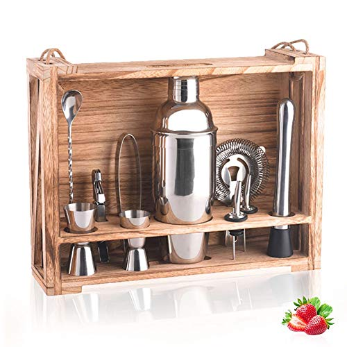 WANGIRL Cocktail 11 Pieces Cocktail Making Set Professional Cocktail Shakers Bartender Kit Stainless Steel Cocktail Maker with Wooden Stand and Accessories Ideal Bar Tools Kitchen Use Kit