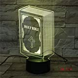 Wfmhra The Bible Model 3D Bulbing Light Ilusión Visual LED Atmosphere Lamp Colorful Night Lights Touch USB Table Lampara Lamp