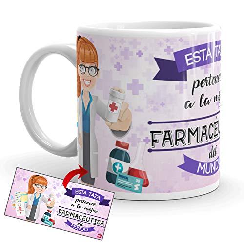 Kembilove Taza de Café de la Mejor Farmacéutica del Mundo – Taza de Desayuno para la Oficina – Taza de Café y Té para Profesionales – Taza de Cerámica Impresa – Tazas de 350 ml para Farmacéuticas