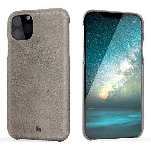 "BULLAZO Menor Classic – kompatibel mit iPhone 11 XI Hülle Schutzhülle Handy Hülle aus hochwertigem Leder grau 6,1"""