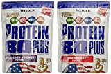WEIDER Protein 80 Plus Eiweißpulver, 2 Pack Mixed, Erdbeer/Waldfrucht-Joghurt, Low-Carb, Mehrkomponenten Casein Whey Mix für Proteinshakes, 2x500g