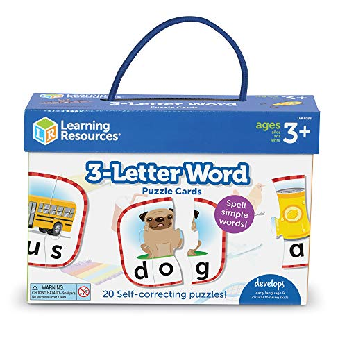 Learning Resources 3-Letter Word Puzzle Cards, Kindergarten Readniness, Self Correcting Puzzles, Ages 4+, Multi