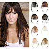 Clip In Human Hair Bangs Natural Real Human Hair Extensions Front Full Air Bangs With Temple Clip On Hairpiece Flat Fringe Bangs Hand Tied Straight For Women #2 Dark Brown 3g