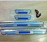 NMQQ Alféizares de Puerta de Acero Inoxidable de 4 Piezas, para Suzuki Vitara 2015-2018 LED Bienvenido Pedal Kick Plates Barra de umbral de Desgaste, alféizares de la Puerta Umbral de umbral de l