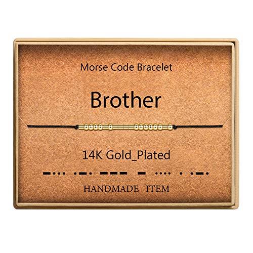 SANNYRA Morse Code Bracelet Brother Sister Gift 14k Gold Plated Beads on Silk Cord Inspirational Gift Birthday Gift for Women Girls