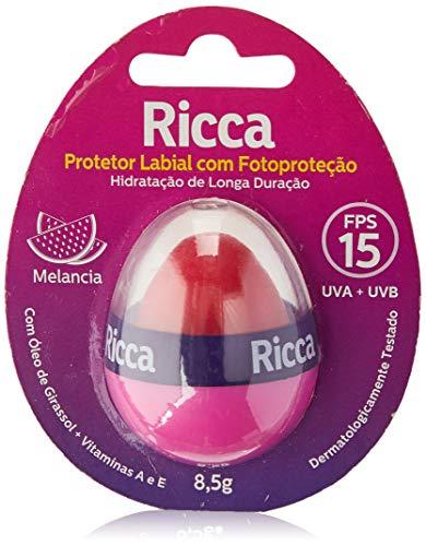 Protetor Labial Com Fotoproteção Ricca FPS 15 Melancia, Ricca, Rosa/Laranja