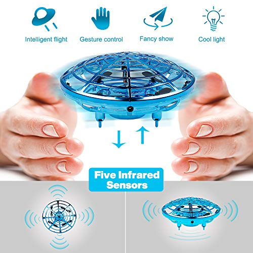 Anear Hand Operated Drones for Kids or Adults| Hands Free Mini UFO Drone Helicopter, Easy Indoor Small Orb Flying Ball Drone Toys for Boys or Girls (Blue)