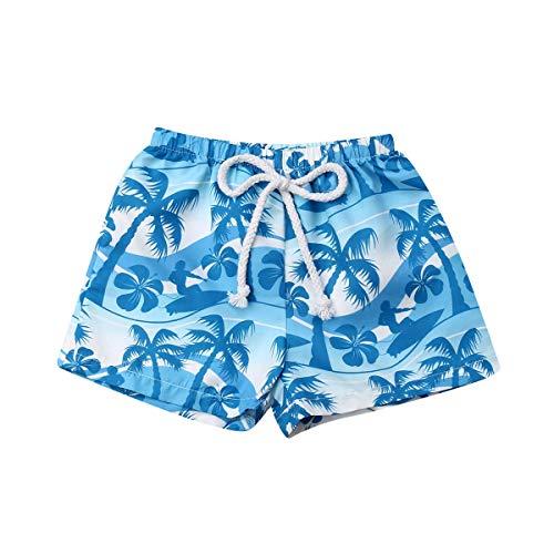 Bermuda de Baño Bañador de Natación Verano para Niños Pantalones Cortos con Estampado Hawaiano para Chicos Traje de Baño con Banda Elástica Ajustable Ropa de Playa (Azul, 1-2 Años)