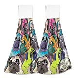 Oarencol Colorful Pug Kitchen Hand Towel Funny Animal Dog Absorbent Hanging Tie Towels with Loop for Bathroom 2 Pcs