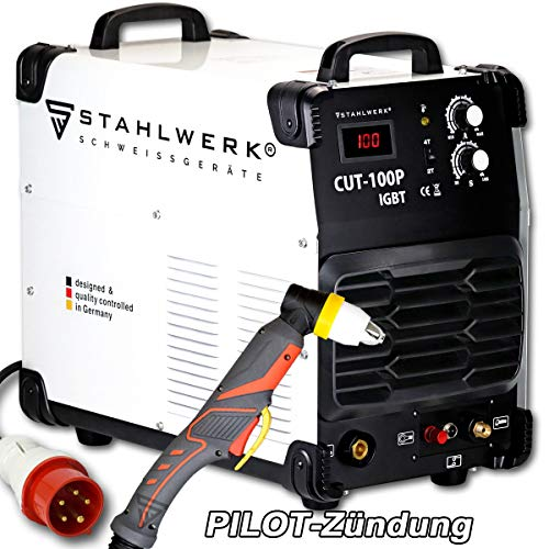 STAHLWERK CUT 100 P IGBT Plasmaschneider mit 100 Ampere, Pilot-Zündung, bis 44 mm Schneidleistung, für Flugrost geeignet, weiß, 5 Jahre Garantie