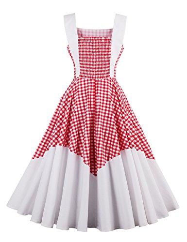 VKStar® 50er Rockabilly Kariert Kleid Petticoat Vintage ärmellos Kirschen Abendkleid Rot S - 2