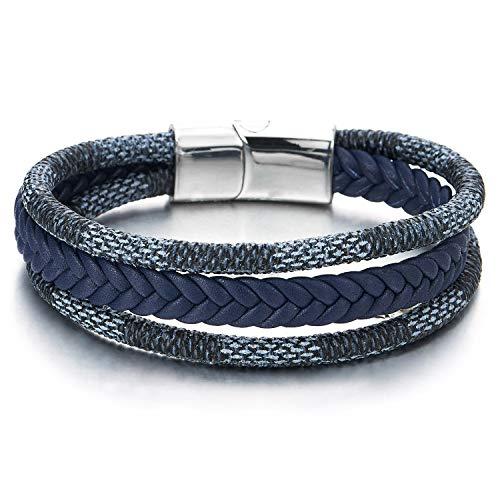 COOLSTEELANDBEYOND Men Women Three-Strand Navy Blue Braided Leather Cotton Rope Bracelet Wristband Steel Magnetic Clasp