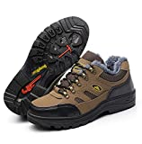 Gzhengjie Zapatillas De Seguridad Hombres Zapatos De Trabajo con Punta De Acero Ultra Liviano Suave Y Cómodo Transpirable,Marrón,42