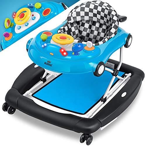 KIDIZ® 4in1 Lauflernhilfe Babywalker Spiel- und Lauflernwagen Gehfrei - Schaukelfunktion Babywippe mit Rollen, Licht, Musik,Spielecenter Esstisch Laufstuhl Laufhilfe babys ab 6 Monaten Klappbar, Blau
