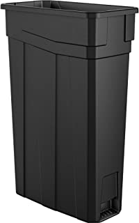 AmazonBasics 23 Gallon Commercial Slim Trash Can, No Handle, Black, 2-Pack