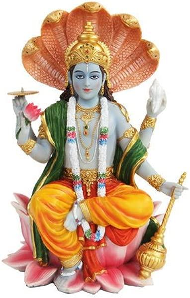 PTC 8 Inch Vishnu With Lotus Mythological Indian Hindu God Statue Figurine
