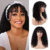 ISEE Human Hair Wigs with Bangs Brazilian Kinky Curly None Lace Front Wigs Human Hair Glueless Machine Made Deep Curly Wet and Wavy Human Hair Wigs for Black Women(24')