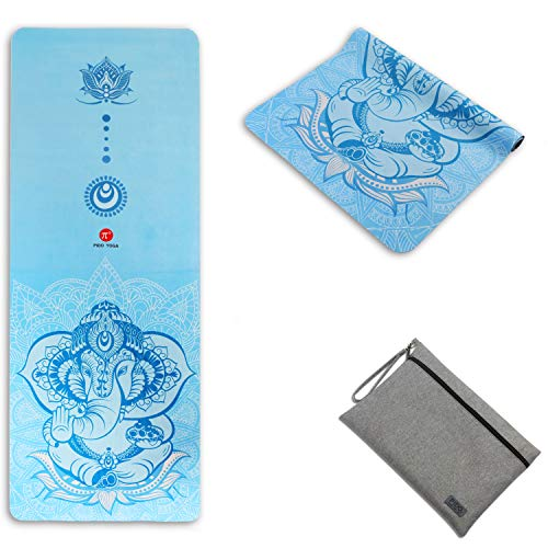 """WWWW PIDO Travel Yoga Mat Suede Natural Rubber Non Slip Gym Mat with Canvas Bag,72""""x26"""" Foldable 1/16 Inch Ultra-Thin mat for Yoga Pilates Fitness Exercise (WanXiangShengHua)"""