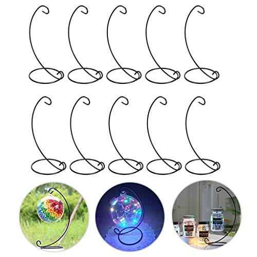 Bstkey - Set di 10 espositori per ornamenti, ganci in ferro, per appendere piante in vetro, terrario, sfere di cristallo, per casa, giardino, ufficio, feste Nero