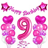 Globos de Cumpleãnos 9 Rosas, 9er Cumpleaños Globos Niña, Feliz Cumpleaños Decoración Globos 9 Años, Látex Globos Fiesta Party Decoración
