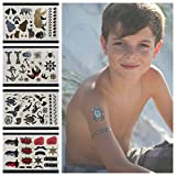 Twink Designs Temporary Tattoos for Boys and Girls   77 Tattoos on 4 Sheets   Fun Metallic Tattoos for Kids   Black, Silver, Red & Gold Tattoo Bears Wolves Turtles Lizards Spiders Birds and More