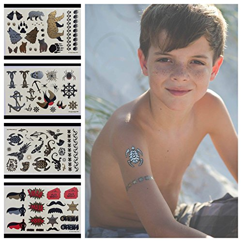 Temporary Tattoos for Boys and Girls | 77 Tattoos on 4 Sheets | Fun Metallic Tattoos for Kids | Black, Silver, Red & Gold Tattoo Bears Wolves Turtles Lizards Spiders Birds and More | Twink Designs