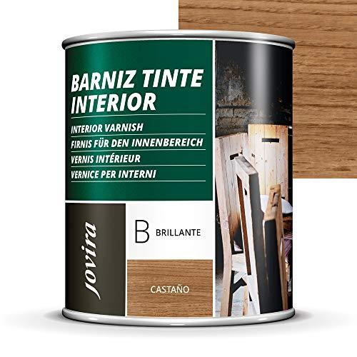 BARNIZ TINTE INTERIOR BRILLANTE, (6 COLORES), Barniz madera, Protege la madera, Decora y embellece la madera. (750ML, CASTAÑO)