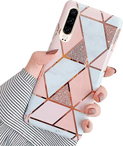 Herbests Kompatibel mit Huawei P30 Hülle Silikon Weich TPU Handyhülle Glitzer Glänzend Marmor Muster Ultra Dünn Schutzhülle Marble Case Kratzfeste Stoßfest Tasche,Rose Gold