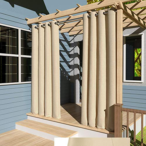 Clothink Outdoor Vorhänge Aussenvorhang B:132xH:215cm Winddicht Wasserabweisend Sichtschutz Sonnenschutz UVschutz Beige