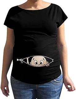 Mitlfuny Ropa premam/á Mujeres Florales Estampado Camiseta de Maternidad Verano Cuello Redondo Manga Corta Hombro Abierto Blusa Suelto Tops de Embarazo Lactancia Embarazadas Camisa