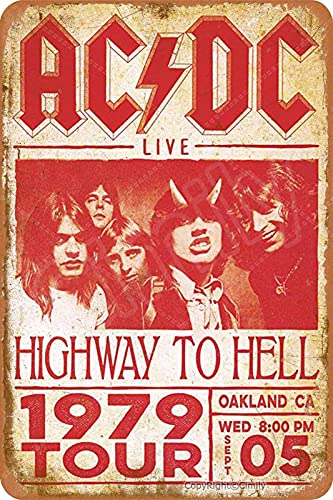Cimily A-C-D-C Highway to Hell Live 1979 Tour Vintage Blechschild Eisenmalerei Retro Metallschild Plakette Kunst Wanddekoration für Bar Cafe Office Hotel Outdoor 8 × 12 Zoll